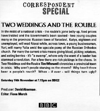 "Image of the text about the film ""Two Weddings And The Rouble"""